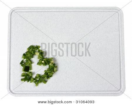 Diced Green Peppers Shaped like a Heart