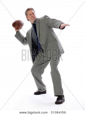 Business Man Throwing a Football
