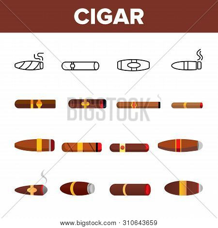 Lit Luxurious Cuban Cigar Vector Icons Set. Nicotine, Narcotic Addiction, Bad Habit Outline Cliparts