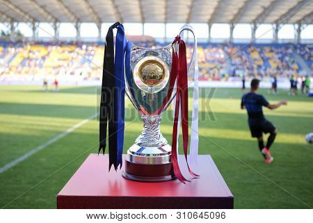 Ploiesti, Romania - July 6, 2019: Details With The Romanian Supercup (supercupa Romaniei) Trophy, Be