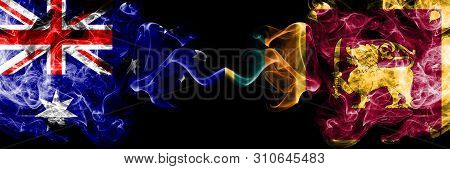 Australia Vs Sri Lanka, Sri Lankan Smoky Mystic Flags Placed Side By Side. Thick Colored Silky Smoke