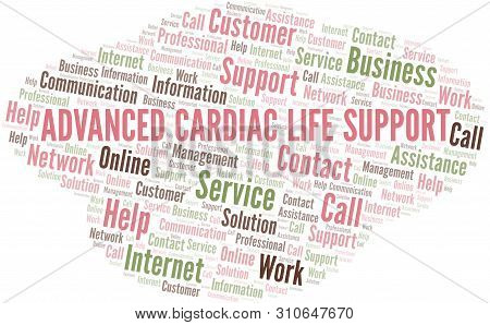 Advanced Cardiac Life Support Word Cloud Vector Made With Text Only