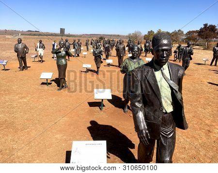 2 June 2019 - Maropeng, Johanesburg, South Africa : Bronze Historical Sculptures At The Cradle Of Hu