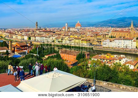 Florence, Italy - October 24, 2018: People At Piazzale Michelangelo And Aerial View Of Historical Me