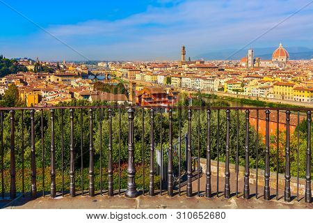 Florence, Italy Viewpoint Fence At Piazzale Michelangelo And View Duomo Dome, And Ponte Vecchio And