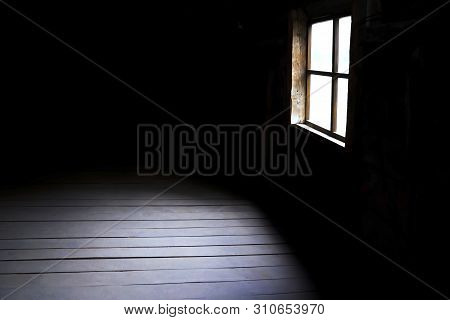 Darkness And Horror, Background With Copy Space. Inside In An Empty Dark Room Of An Old Abandoned Ho