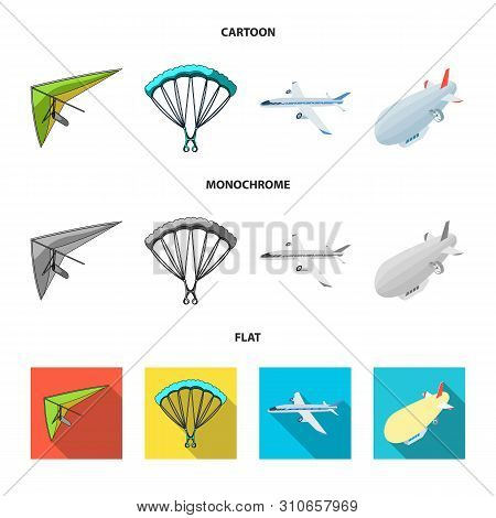Isolated Object Of Transport And Object Symbol. Set Of Transport And Gliding Stock Vector Illustrati