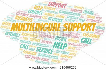 Multilingual Support Word Cloud Vector Made With Text Only