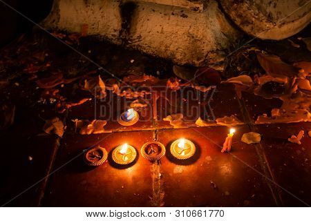 The Candle Is Bright With Flower For Worshiping The Buddha Of Buddhism Makha Bucha Day