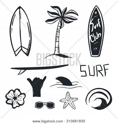 Summer Surf Hand Draw Set With Surfboard, Wave, Palm Tree And Shark.