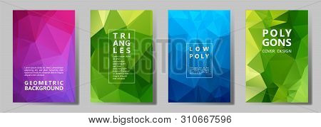 Facet Polygonal Bright Cover Page Layouts Vector Graphic Design Set. Diamond Texture Low Poly Patter