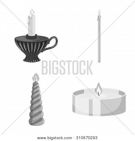 Isolated Object Of Paraffin And Fire Symbol. Set Of Paraffin And Decoration Stock Vector Illustratio
