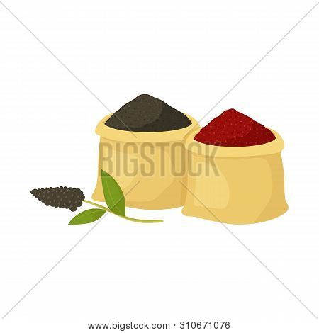 Vector Design Of Bag And Spice Icon. Collection Of Bag And Turmeric Stock Vector Illustration.