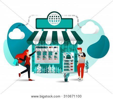 Vector Illustration Concept For Websites, Apps, Ui, Print, Poster. Offline Shop Are Online. Store Jo