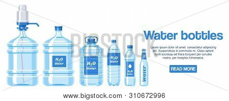 Water Bottles Made Of Plastic Web Design Banner Vector Illustration. Healthy Agua Bottles With Label