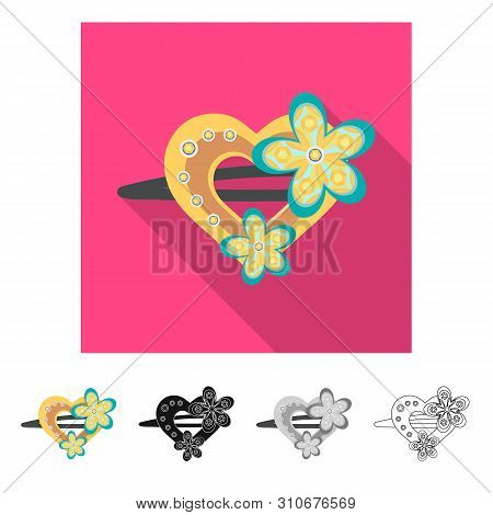Isolated Object Of Hairgrip And Hairdo Icon. Set Of Hairgrip And Clip Vector Icon For Stock.