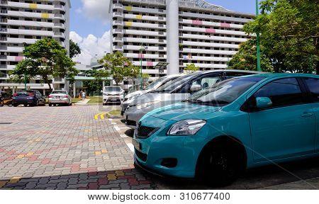 Singapore-22 Feb 2019:singapore Hdb Area Public Car Park View