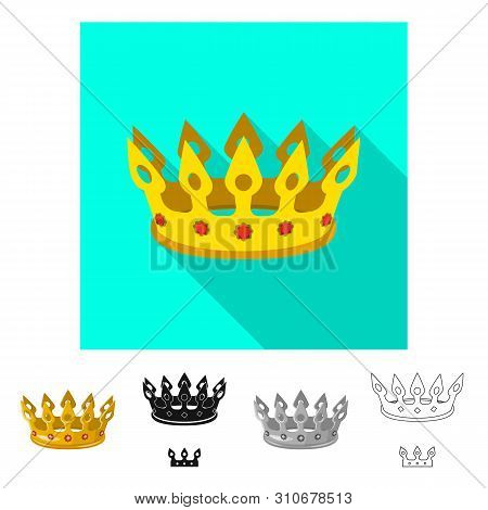 Vector design of medieval and nobility sign. Set of medieval and monarchy vector icon for stock. poster