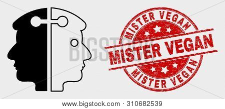 Vector Dual Head Link Icon And Mister Vegan Seal Stamp. Red Round Distress Seal With Mister Vegan Ca