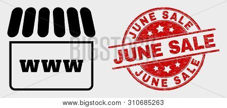 Vector Webshop Icon And June Sale Seal Stamp. Red Round Distress Seal Stamp With June Sale Caption.