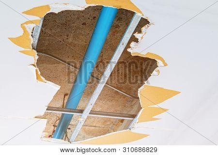 Repair Leak Water Pipe In Under Gypsum Ceiling Interior Office Building