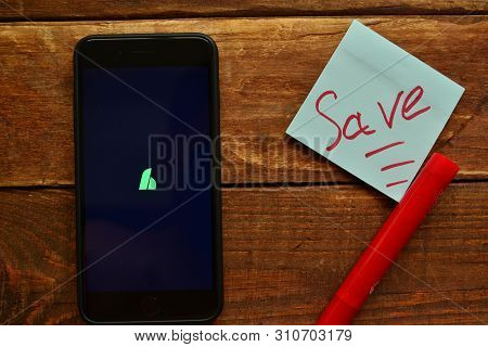 Stavropol, Russian Federation. July 10, 2019. Smartphone With Mobile Application Hiatus Bill And Mon