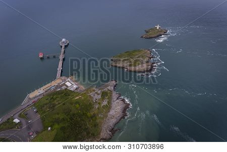 Editorial Swansea, Uk - June 17, 2019: Aerial View Of Mumbles Pier During Refurbishment And Mumbles