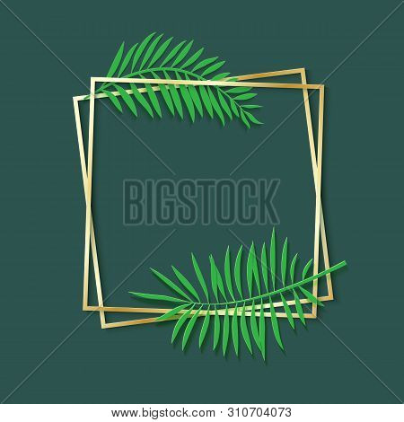 Paper Cut Gold Frame With Tropical Leaves. Two Golden Inclined Square Frames Lie One On Another. Vec