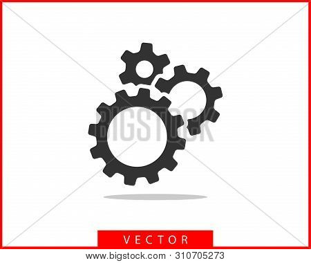 Metal Gears And Cogs Vector. Gear Icon Flat Design. Mechanism Wheels Logo. Cogwheel Concept Template