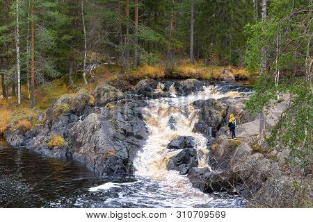 Forest River Stream Flow View. Deep Forest River Waterfall Stream. Forrest River Waterfall Scene. Fo