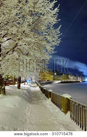 Snow-white Winter In The City.the Trees Are Covered With Bright Snow .beautiful Winter Landscapes.