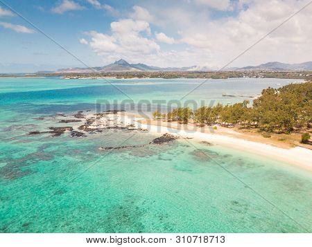 Aerial View Of Beautiful Tropical Beach With Turquoise Sea. Tropical Vacation Paradise Destination O