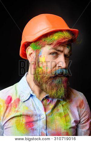 Painter. Room Painting Job. Handsome Bearded Worker. Professional Painter, Decorator, Builder Worker