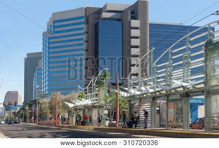 Phoenix,Az/USA - 6.21.2019:  Midtown station for Valley Metro light rail station in Phoenix Arizona.