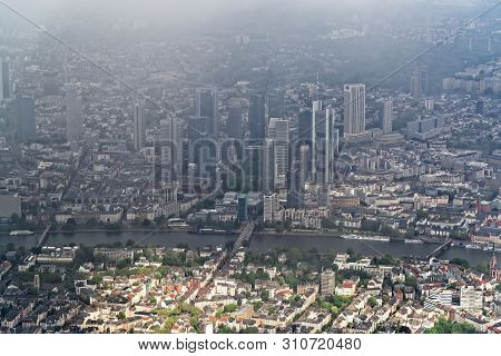 Aerial View From The Airplane On The City Center Of Frankfurt Am Main, Germany