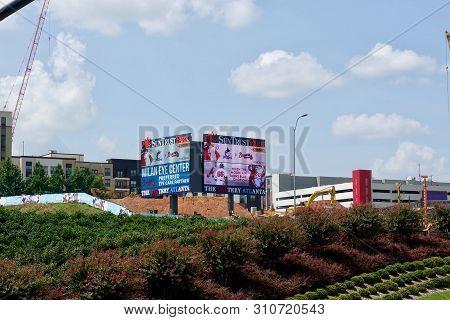 Atlanta,ga/usa-7/7/19: The Sign For Sun Trust Park, The Baseball Park For The Atlanta Braves In Atla