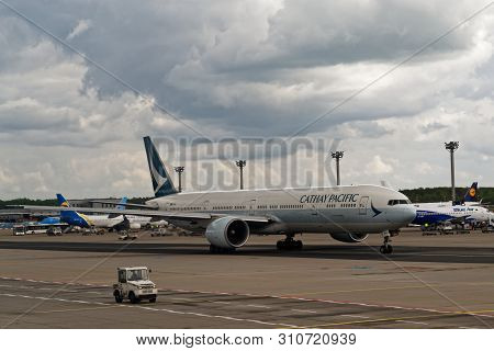 Frankfurt Am Main, Germany - April 28, 2019: Airplane Of Cathay Pacific Airline At Frankfurt Airport