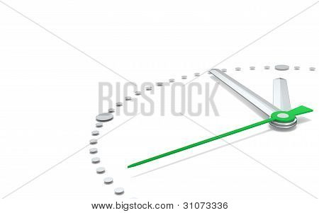 Perspective view of a clock with hands pointing at five to twelve. Green and steel. poster