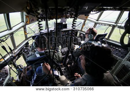 Bucharest, Romania - May 22, 2019: Details With The Cockpit Of A Lockheed C-130 Hercules Military Ca