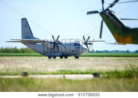 Boboc, Romania - May 22, 2019: Alenia C-27j Spartan Military Cargo Plane From The Bulgarian Air Forc