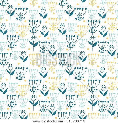 Cute Seamless Floral Pattern On White Background. Flowers And Dots.