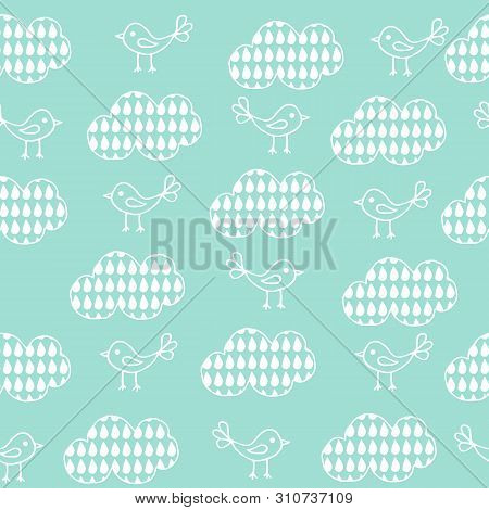 Cute Seamless Pattern With Cartoon Birds And Clouds On Blue Background.