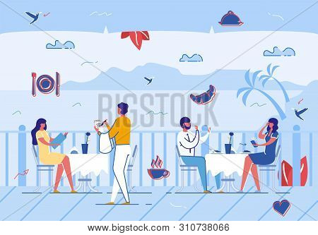 People Relaxing In Summer Cafe Outdoors, Waiter Taking Order From Customer. Couple Dating, Open Air
