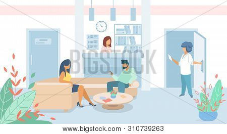 Man And Woman Patients Sitting In Clinic Lobby On Couch, Hall Interior With Administrator On Hospita