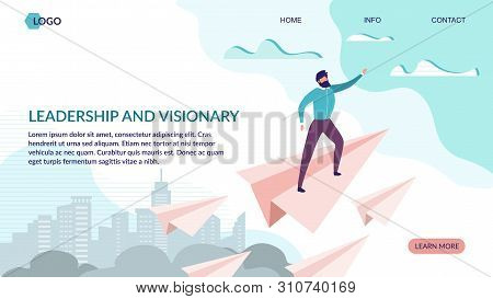 Leadership And Visionary Landing Page Flat Design. Business Strategy Aimed On Success. Office Worker