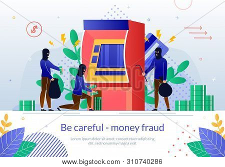 Financial Fraud Flat Vector Banner Template With Group Of Criminals , Bank Robbers In Face Masks Bro