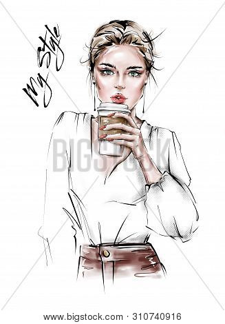 Hand Drawn Beautiful Young Woman With Plastic Coffee Cup In Her Hand. Stylish Girl. Fashion Woman Lo