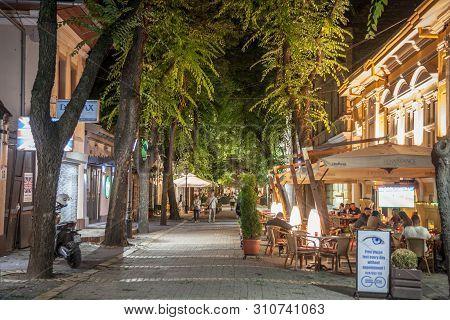 Subotica, Serbia - June 30, 2018: Matije Korvina Street In The Evening, A Pedestrian Street Of Subot