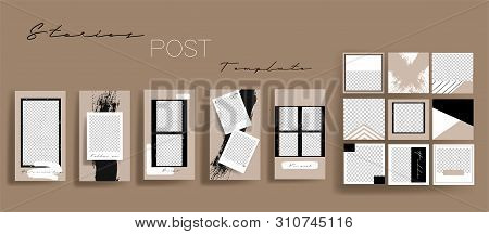 Design backgrounds for social media banner.Set of instagram stories frame templates.Vector cover. Mockup for personal blog or shop.Layout for promotion.Endless square puzzle.