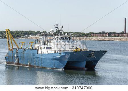 New Bedford, Massachusetts, Usa - July 9, 2019:  Geotechnical Survey Vessel Shearwater, Hailing Port